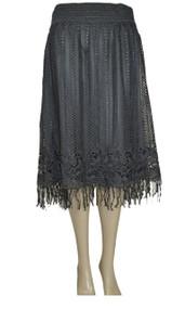 pretty angel Dark Gray Lace fringe Skirt