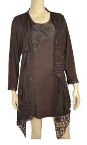 pretty angel Coffee Crochet Layered Tunic Plus