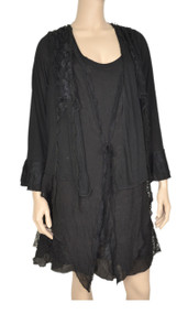 PRETTY ANGEL Black Floral Lace Trim Tunic