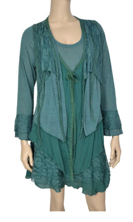 pretty angel Green Floral Lace Trim Tunic