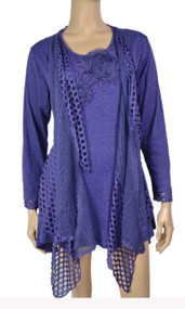 pretty angel Purple Crochet Layered Tunic Plus