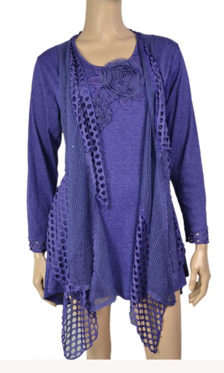pretty angel Purple Crochet Layered Tunic Plus