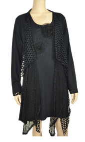 pretty angel Black Crochet Layered Tunic Plus