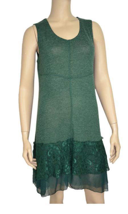 pretty angel Teal Linen - Blend Sleeveless Tunic Dress