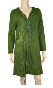 Pretty Angel Green Embroidered Linen Blend Duster