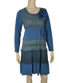 Pretty Angel Turqouise & Aqua Patchwork Linen Blend Dress