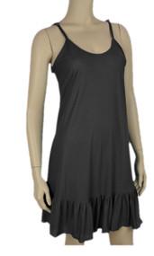 Pretty Angel Black Ruffle Silk Blend Tunic with Adjustable Strap