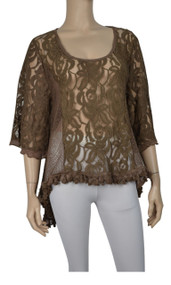 Pretty Angel Coffee Sheer Lace Tops with Sidetail