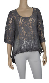 Pretty Angel Gray Sheer Lace Tops with Sidetail