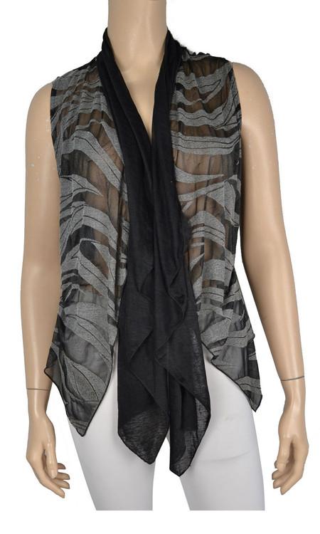 Pretty Angel Black & Dark Gray Silk Blend Vest