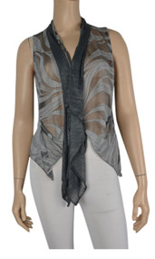 Pretty Angel Dark Gray & Gray Silk Blend Vest