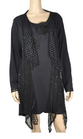 Pretty Angel Black Crochet Layered With Decorative Flower Tunic