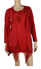 Pretty Angel Red Crochet Layered Tunic Plus