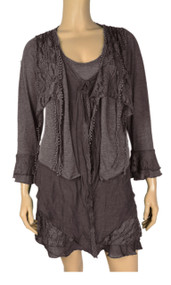 Pretty Angel Coffee Lace Layered Tunic Plus