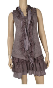 Pretty Angel Mauve Sleeveless Layered Tunic With Matching Scarves