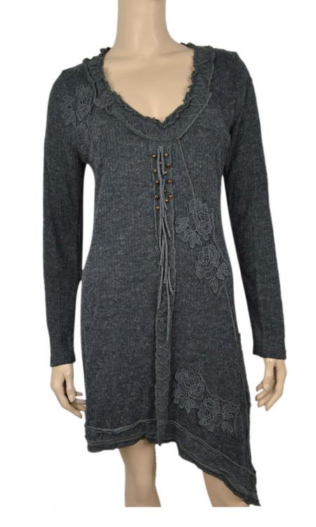 Pretty Angel Black Applique Linen Blend Dresses