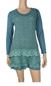 Pretty Angel Aqua Layered Linen - Blend Tunic