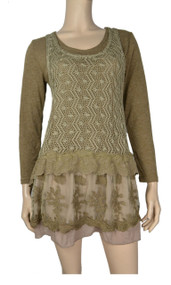 Pretty Angel Brown Layered Linen - Blend Tunic