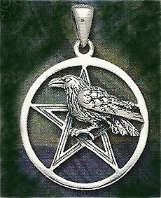 Raven Pentacle Pendant Sterling Silver