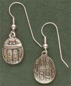 Dbl Sided Scarab Silver Earrings *Sale Priced*