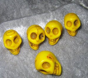 "Skull Beads 1/2"" Yellow  Howlite"