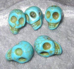 """Skull Beads 1/2"""" Blue Howlite"""