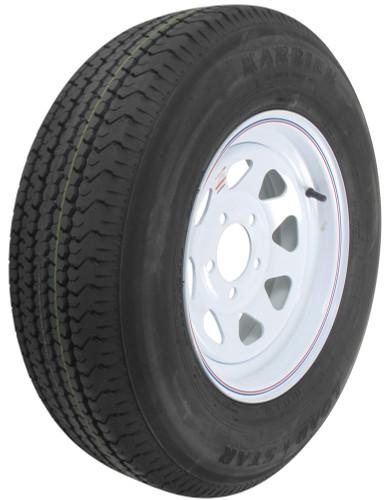"""Kenda Karrier ST205/75R14 Radial Trailer Tire 14"""" White Wheel 5 on 4-1/2"""