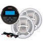 """Jensen Marine Bluetooth Stereo w/ Two 6.5"""" Speakers Package and Audio Input Cable"""