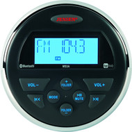 """Jensen AM/FM/USB/Bluetooth Compact 3.5"""" Round Waterproof Stereo with App Control"""