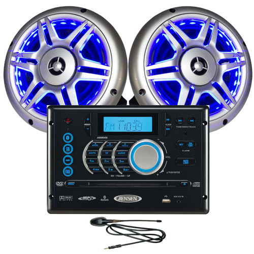"""Jensen Bluetooth Stereo w/ Two 6.5"""" LED Marine/RV Speakers and Antenna"""