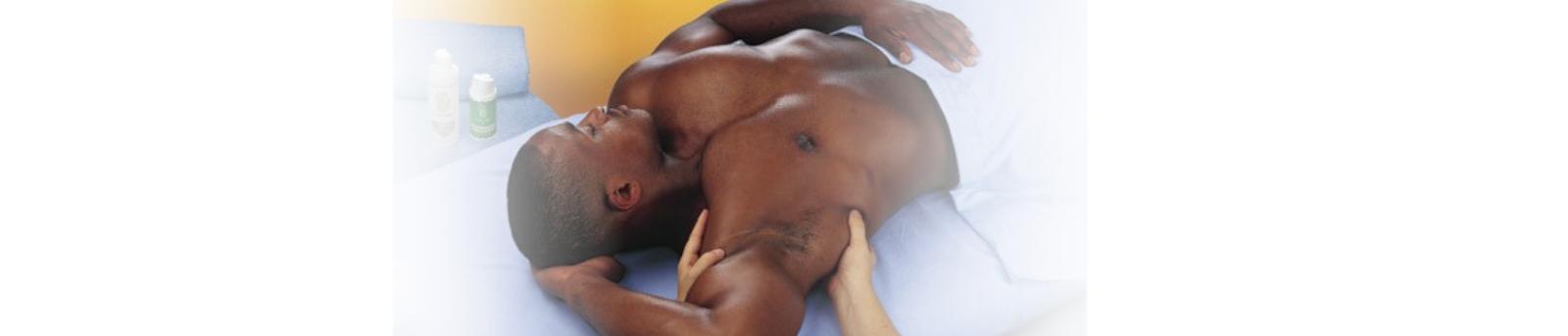 man receiving massage to torso