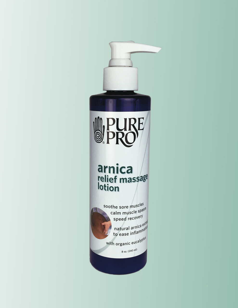 Arnica Relief Massage Lotion, 8 oz, Refillable Bottle w/Pump