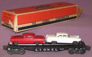 6424 Twin Automobile Flatcar: White / Red Auto (8/OB)