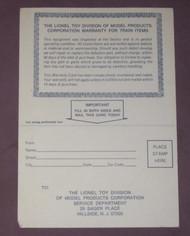 1970's (early) Lionel Warranty Card: 86505 (9)