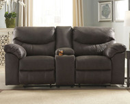 Ashley Boxberg Teak Double Reclining Power Loveseat w/Console