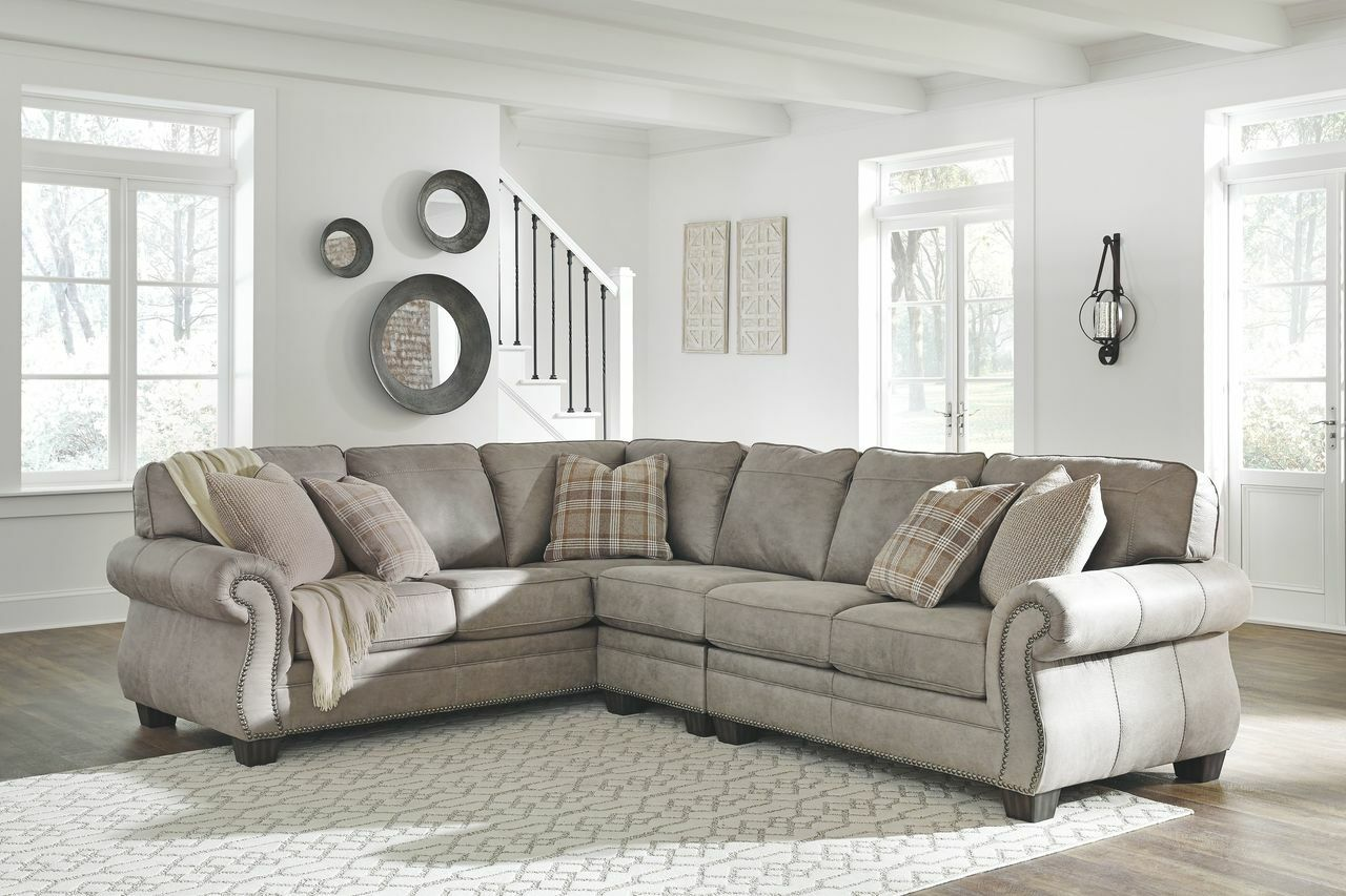 buy online 5268a b78c9 Ashley Olsberg Steel LAF Sofa/Couch with Corner Wedge, Armless Chair & RAF  Loveseat Sectional