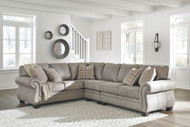 Ashley Olsberg Steel LAF Sofa/Couch with Corner Wedge, Armless Chair & RAF Loveseat Sectional