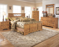Ashley Bittersweet Light Brown 5 Pc. Dresser, Mirror, Queen Panel Bed & 2 Nightstands