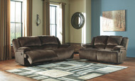 Ashley Clonmel Chocolate Reclining Sofa/Couch & Reclining Loveseat