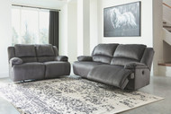 Ashley Clonmel Charcoal 2 Seat Reclining Power Sofa/Couch & Reclining Power Loveseat