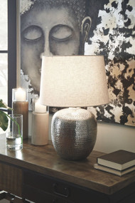 Ashley Magalie Antique Silver Finish Metal Table Lamp (1/CN)