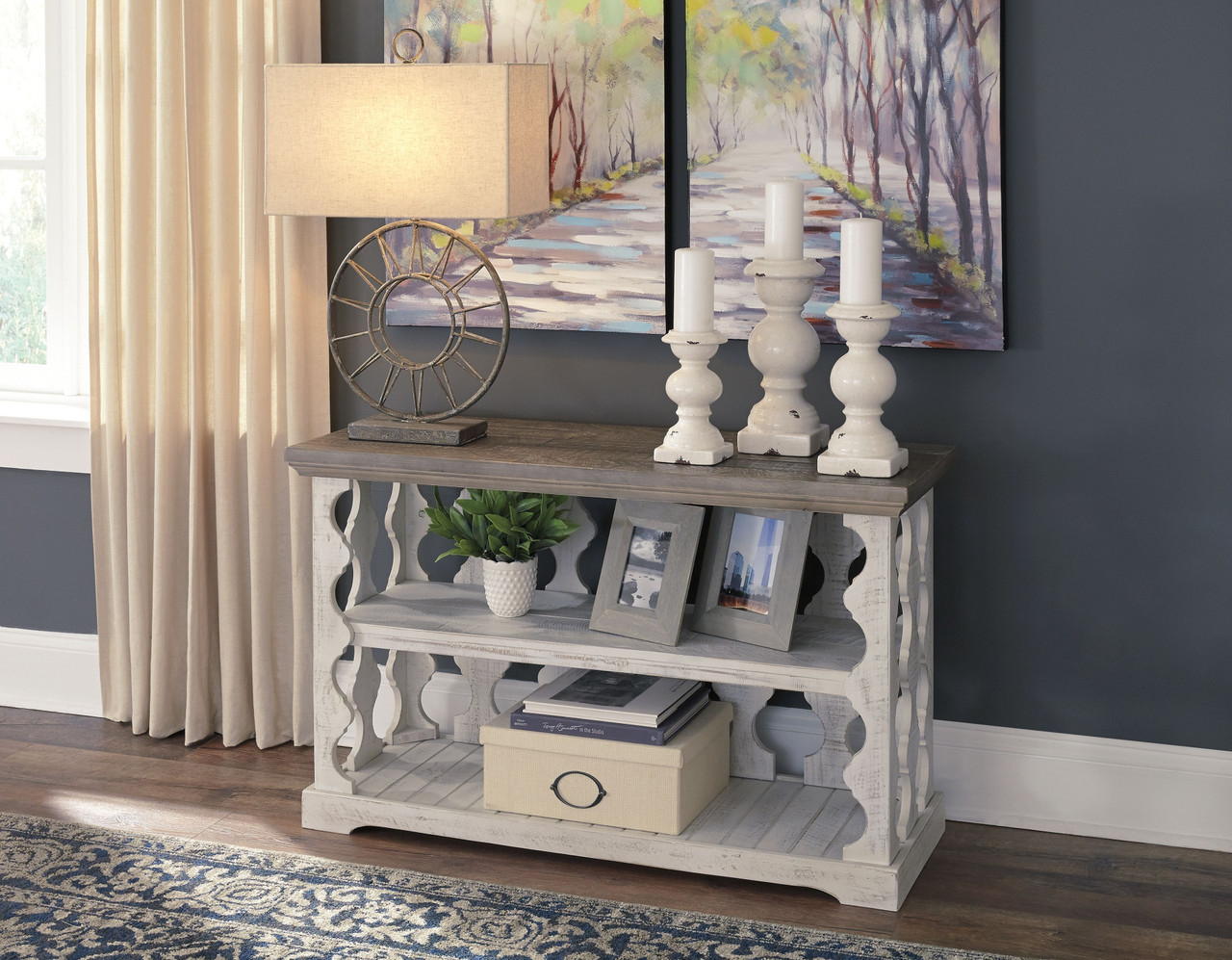 Ashley Havalance Gray White Console Sofa Table
