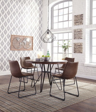 Ashley Centiar Two-tone Brown 5 Pc. Round  Table & 4 Upholstered Side Chairs