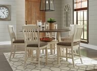 Ashley Bolanburg Two-tone 7 Pc. Round Drop Leaf Counter Table & 6 Upholstered Barstools