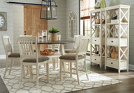 Ashley Bolanburg Two-tone 9 Pc. Round Drop Leaf Counter Table, 6 Upholstered Barstools & 2 Display Cabinets