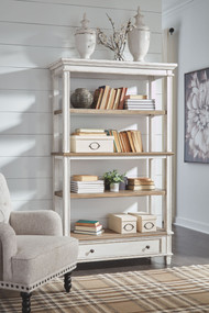 Ashley Realyn Brown/White Bookcase