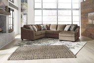 Ashley Graftin Teak LAF Sofa/Couch with Corner Wedge, Armless Loveseat & RAF Corner Chaise Sectional