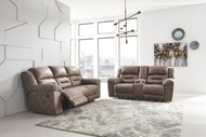 Ashley Stoneland Fossil Reclining Sofa/Couch & Double Reclining Loveseat with Console