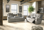 Ashley Mitchiner Fog Reclining Sofa/Couch with Drop Down Table & Double Reclining Loveseat with Console