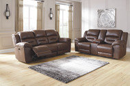 Ashley Stoneland Chocolate Reclining Power Sofa/Couch & Double Reclining Power Loveseat with Console
